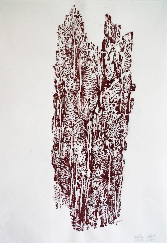 """Lioba Abrell, """"Unterwanderung 4"""", Holzrindendruck mit Linoldruckfarbe, 62 x 82 cm (mit Rahmen), 500 EUR (inkl. Rahmen)"""