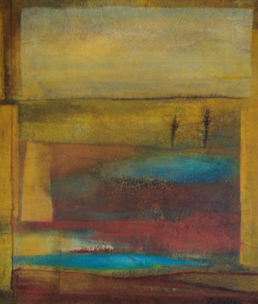 """Margarete Bartsch, """"Verlassenes Land"""", 2020, Eitempera und Kohle auf Seidenpapier/Leinwand, 100 x 85 cm, 1500 EUR"""