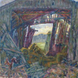 """Angelika Böhm-Silberhorn, """"Corona Tagebuch 1 (5.4.2020)"""", Öl auf Leinwand, 90 x 90 cm, 1800 EUR"""