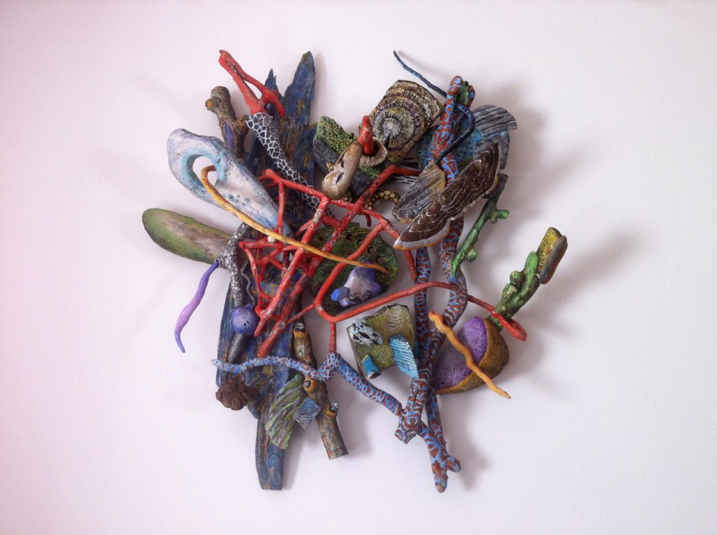 """Peter Böller, """"Geflecht 3"""", Holz / Acryl / Wasserfarben, 105 x 88 x 28 cm, 3200 EUR"""
