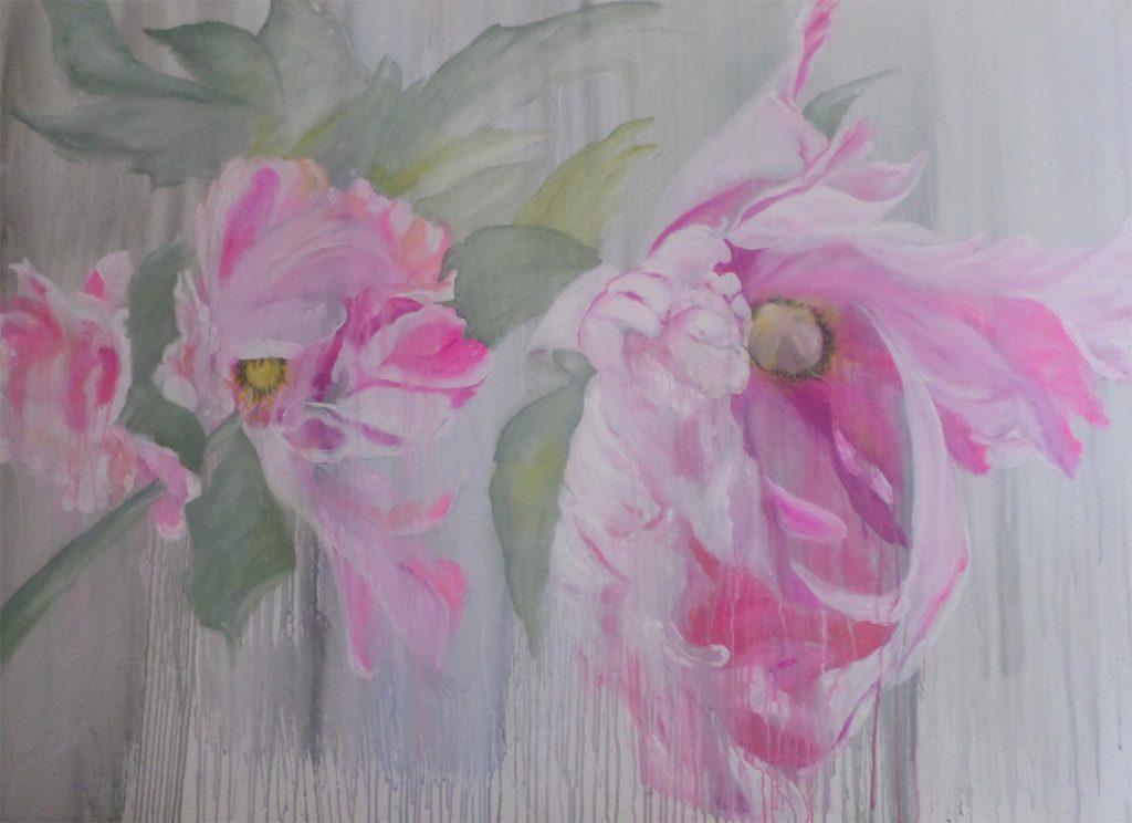 """Brigitte Dorn, """"Florales"""", reine Pigmentfarben auf Acrylbasis / Kreide, 140 x 100 cm, 1900 EUR"""