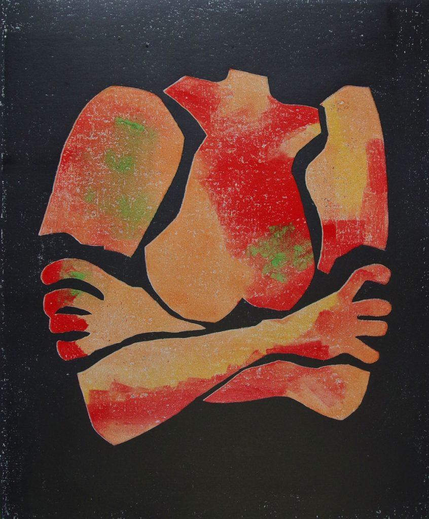 """Helen Fellner, """"In Position"""", Holzschnitt auf Büttenpapier in Handabdruck / Unikat, 2020, 50 x 60 cm, 460 EUR"""