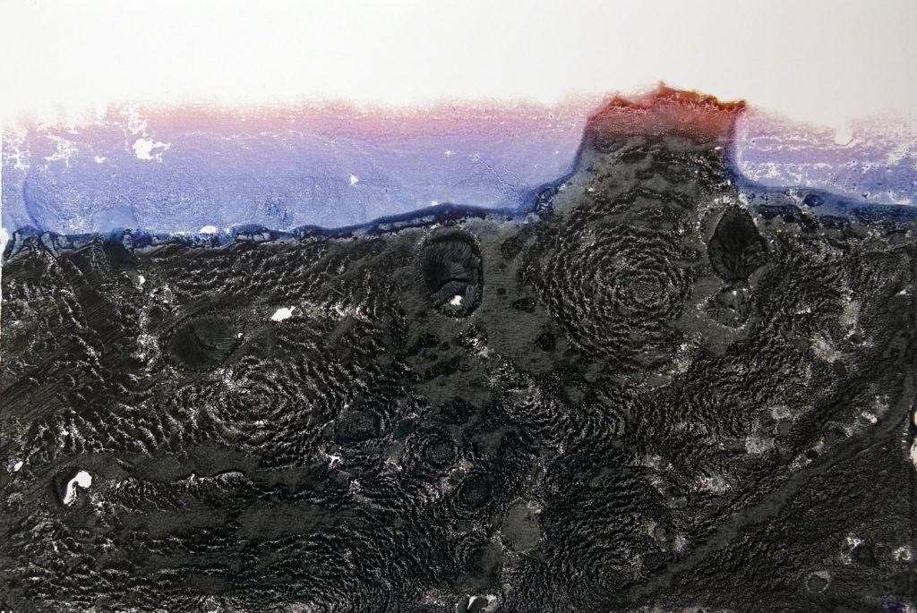 "Karl Forster, ""ENDLANDSCHAFT"", Pigmentfarben-Handumdruck, 48 x 33 cm, 630 EUR"