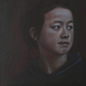 "Heike Hüttenkofer, ""Mädchen aus Tibet"", Öl auf Leinwand, 80 x 80 cm, 1600 EUR"