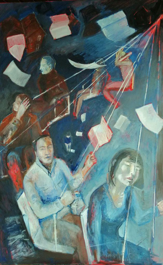 """Monika Javani-Wiedemann, """"Das Karussell"""", 2020, Öl auf Leinwand, 200 x 125 cm, 2250 EUR"""