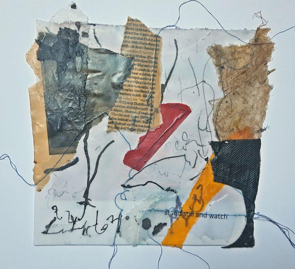 "Carmen Kirkpatrick-Russ, ""sit down"", Collage (Wachs, Tusche, Fäden), 30 x 40 cm, 420 EUR"