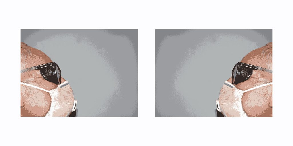 """Werner Mayer, """"Begegnung mit Maske"""", Fotoarbeit (C-print, lim. Edition 20 Exemplare), 60 x 120 cm, 220 EUR"""