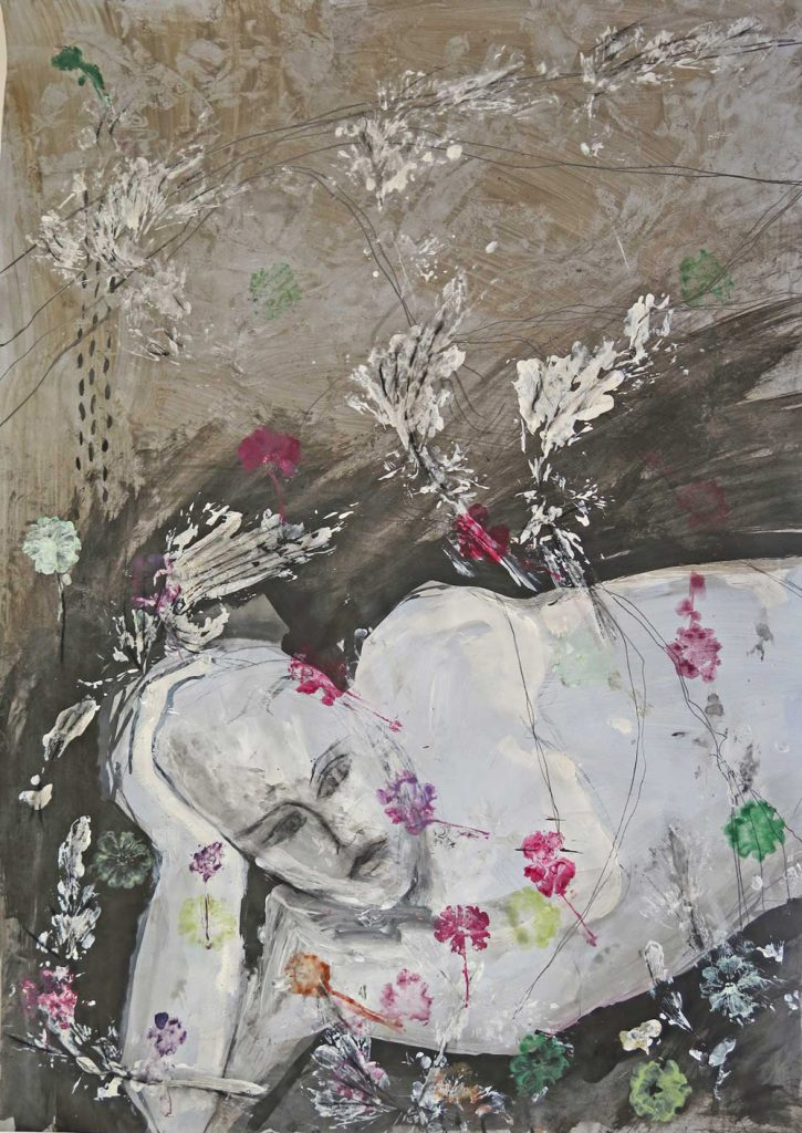 """Anne Messmer-Steinemann, """"Frühling Corona 2020"""", Mischtechnik (Zeichnung/Malerei auf Papier), 70 x 90 cm, gerahmt 950 EUR"""