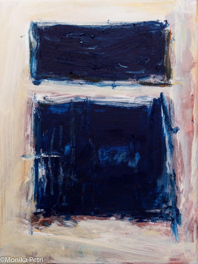 """Monika Petri, """"Die Aussicht"""", Acryl auf Baumwolle, 24 x 18 cm, 500 EUR"""