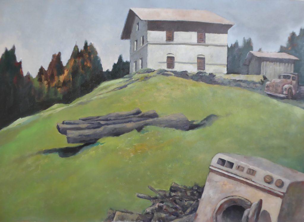 """Michael Of, """"Mögliche Landschaft oder: das Haus am Hang"""", 2020, Öl auf Leinwand, 60 x 80 cm, 600 EUR"""