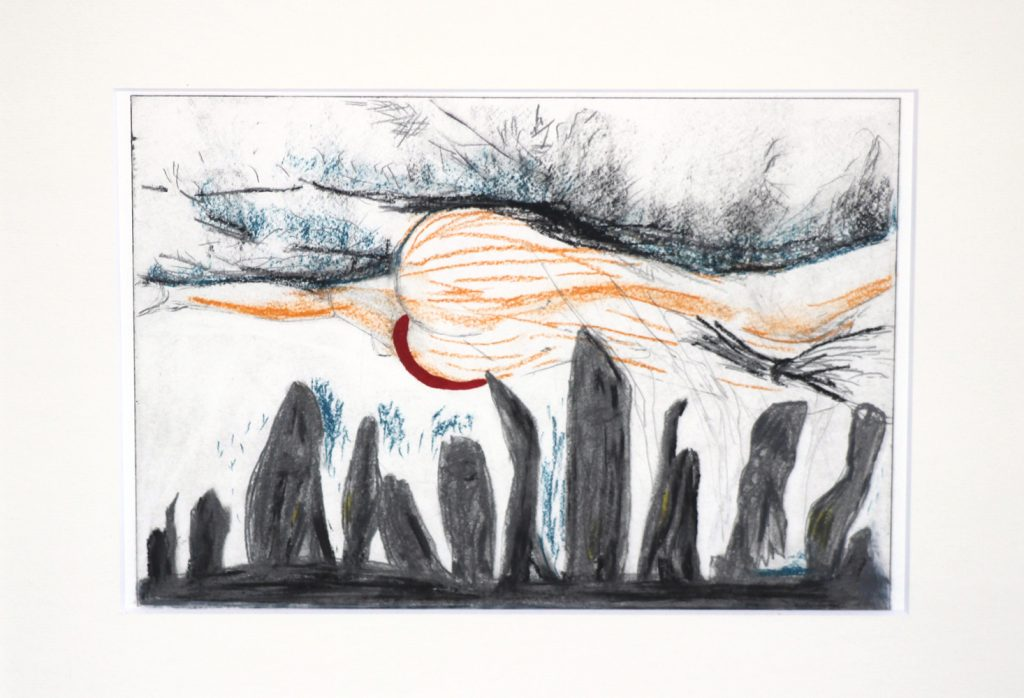 "Tanja Popp, ""unexpected phenomena"", colorierte Radierung, 20 x 28 cm, 240 EUR incl. Rahmen"