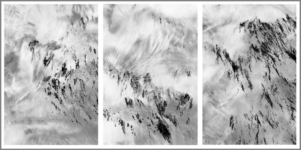 """Werner Prinz,  """"Verborgene Landschaften"""" (Triptychon aus der Serie """"Wasserbilder""""), Fotografie, 25 x 50 cm, 280 EUR"""