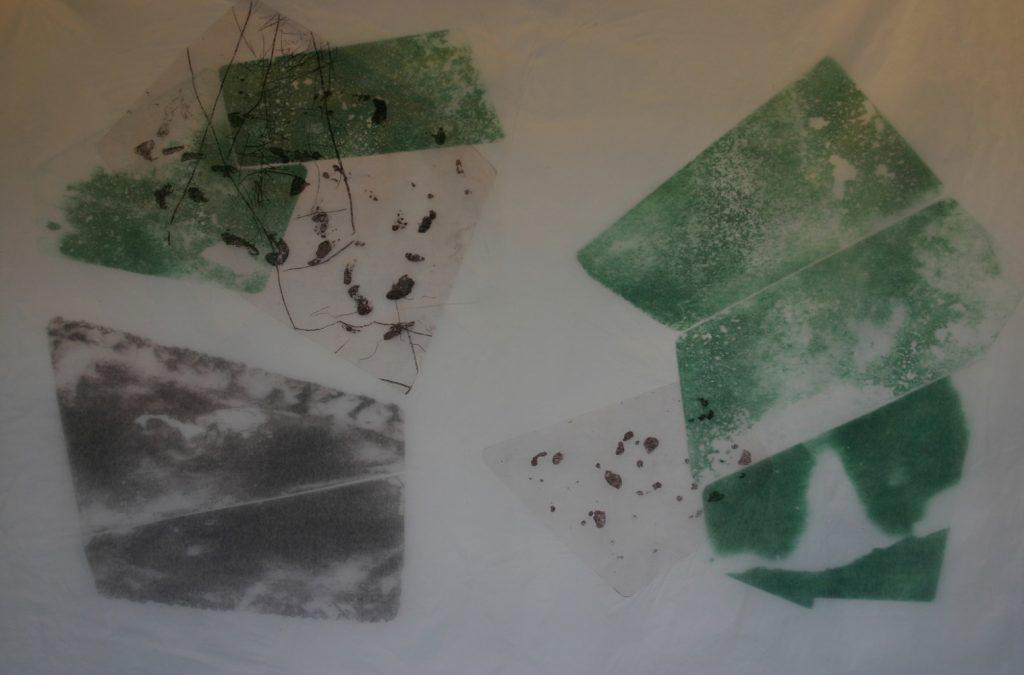 """Wolfgang Scherer, """"Maigrün"""", Radierung auf Bütten und Japanpapier (Unikat), 70 x 100 cm, 450 EUR"""