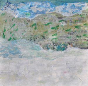 """Isabella Senger, """"Daheim"""", Acryl / Collage mit selbstbedruckten Papieren, 50 x 50 cm, 580 EUR"""