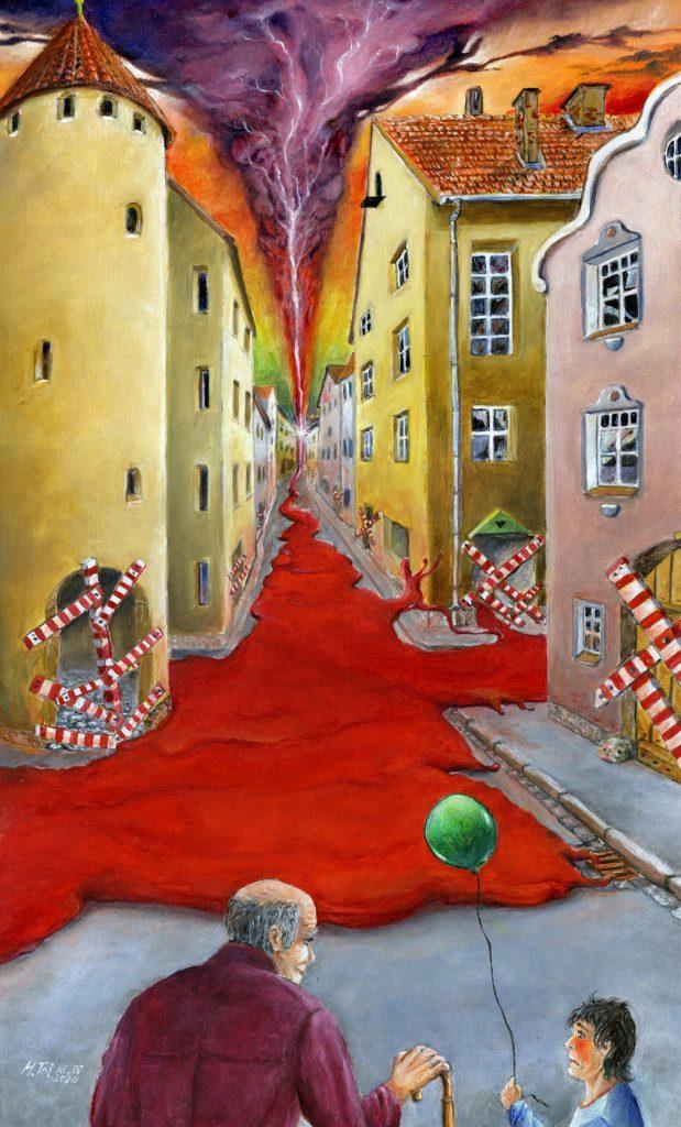 """Helmut Toischer, """"Opa, hilft der grüne Ballon der Hoffnung? - Coronapandemie"""", Mischtechnik auf HFP, 50 x 30 cm, 1350 EUR (ohne Rahmen)"""