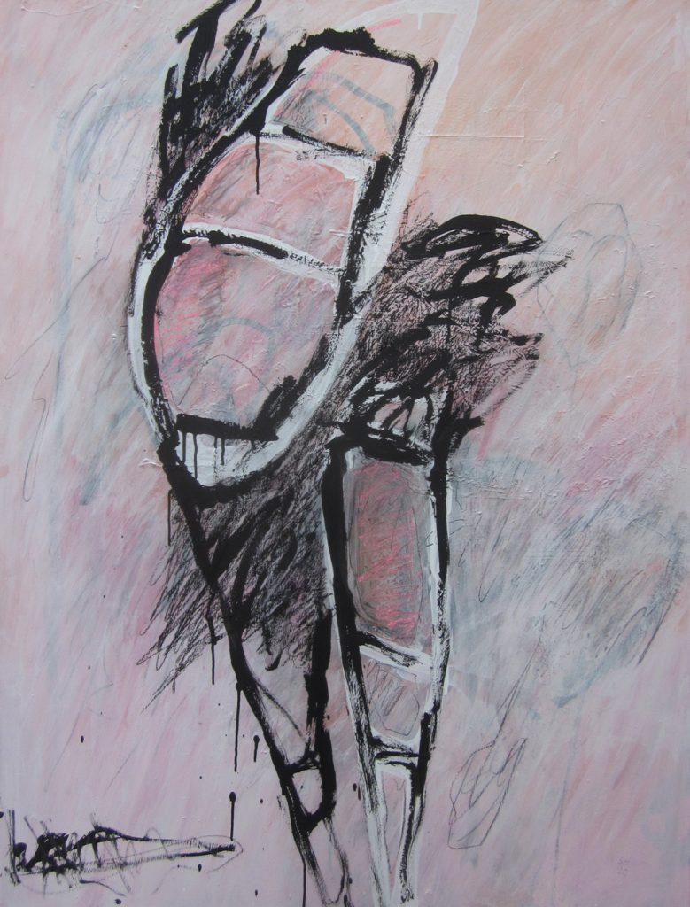 """Stephanie von Hoyos, """"Aus dem Gleichgewicht"""", 2020, Acryl / Kreiden auf Leinwand, 120 x 100 cm, 1300 EUR"""
