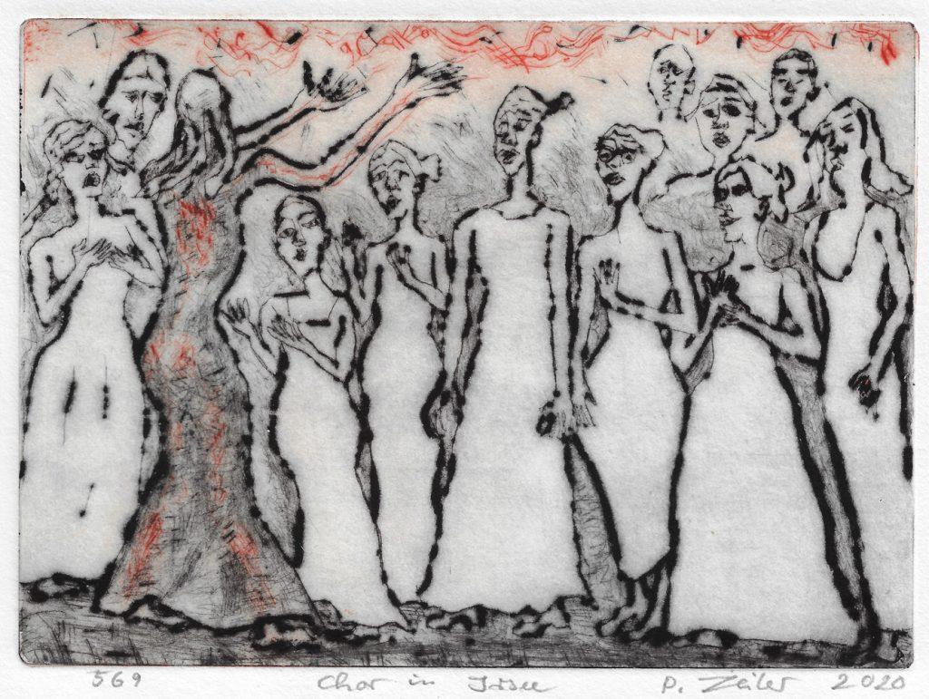 """Peter Zeiler, """"Chor in Irsee"""", 2020, Kaltnadelradierung (zweifarbig), 14,5 x 20 cm, 225 EUR"""