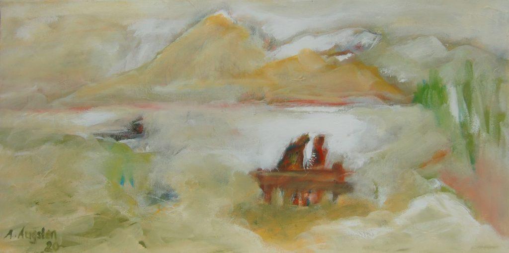 """Annemarie Augsten, """"Abschied"""", Acryl auf Baumwollgewebe, 30 x 60 cm, 420 €"""