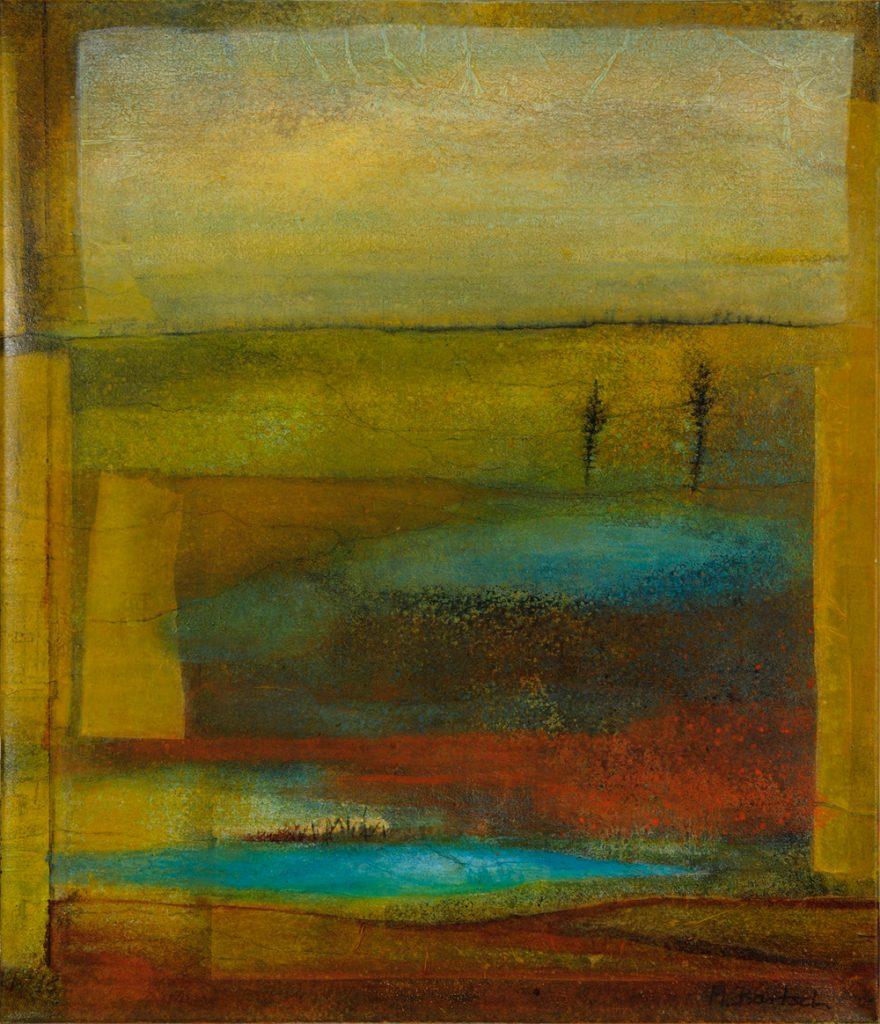 """Margarete Bartsch, """"Verlassenes Land"""", Seidenpapiercollage und Eitempera auf Leinwand, 100 x 95 cm, 1800 €"""