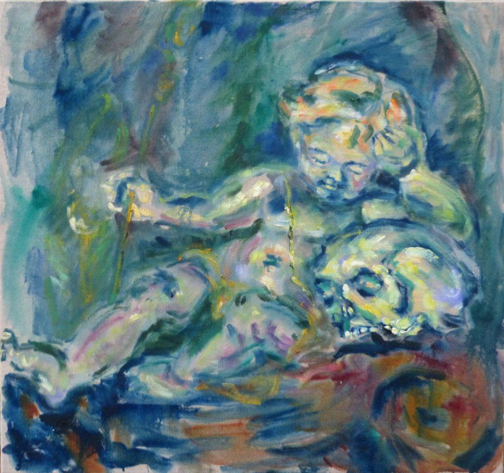 "Angelika Böhm-Silberhorn, ""Trost im Lorenz"", Öl auf Leinwand, 75 x 80 cm, 2600 €"
