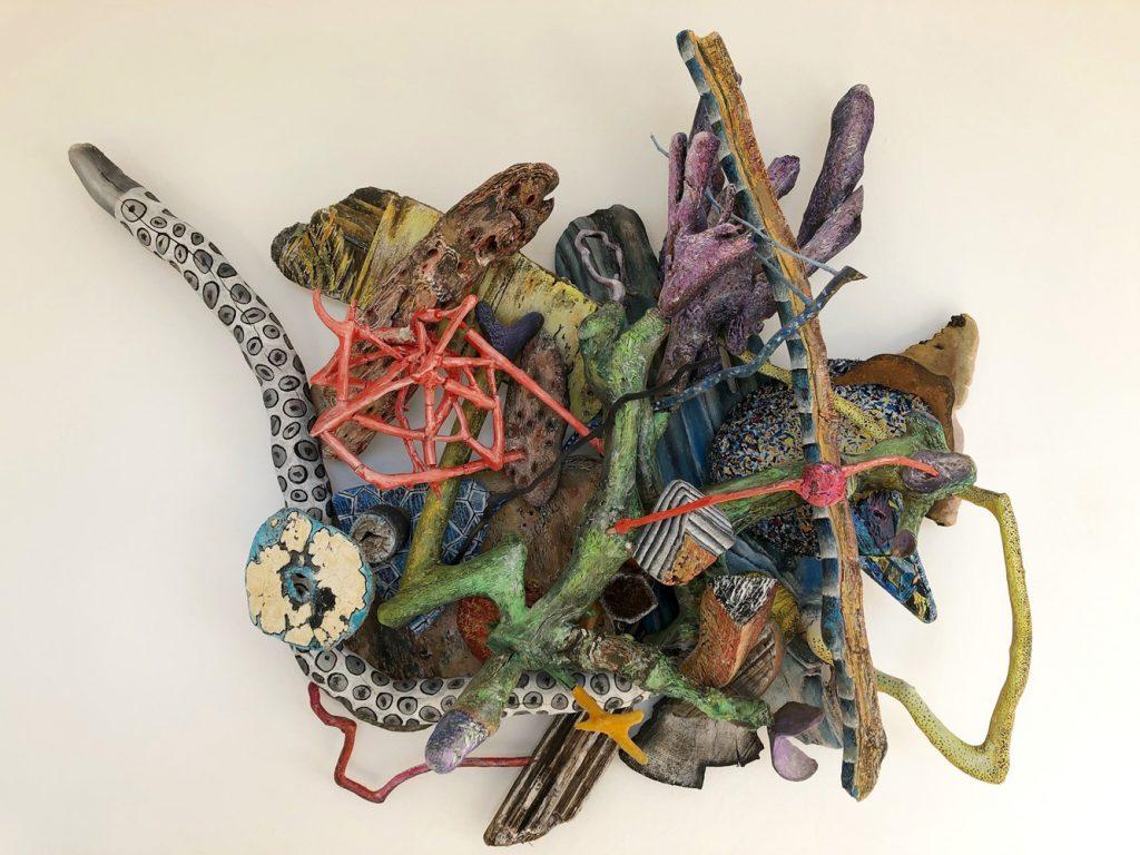 """Peter Böller, """"Geflecht4"""", 77 x 98 x 23cm, Acryl-und Wasserfarben auf Holz, 1200 €."""