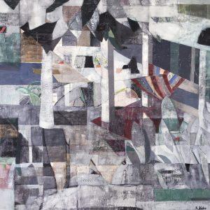 "Renate Bühr, ""Hamaca"", Collage/Öl auf Leinwand, 100 x 100 cm, 1700 €"