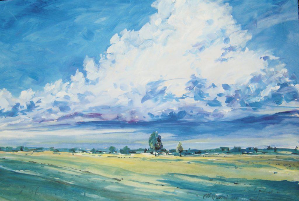 """Christian Burkhardt, """"Auferstehung (Wolkenstimmung über Großried)"""", Acryl auf Sperrholz, 125 x 85 cm, 750 €"""