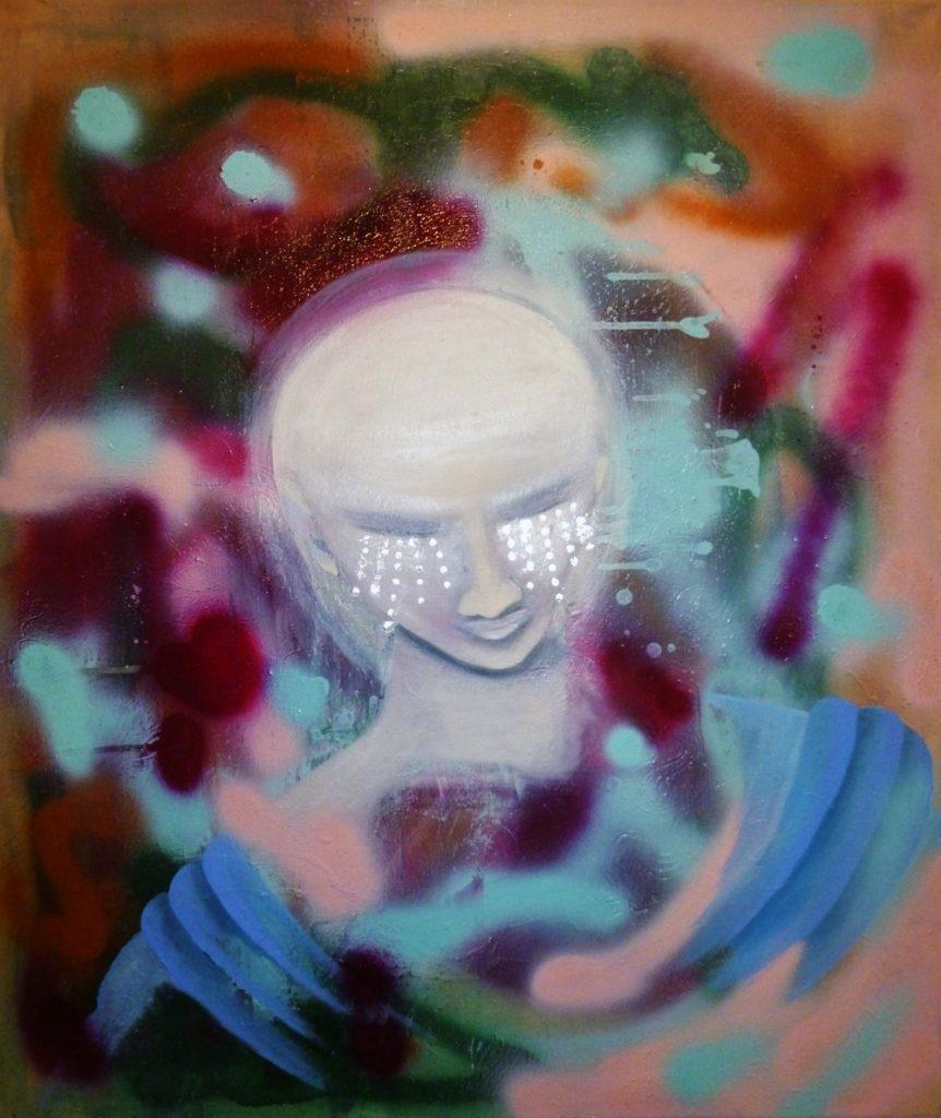 "Begonia Crespo Vidal, ""extraterrestrisch"", Öl / Acryl / Blattsilber auf Leinwand, 60 x 70 cm, 650 €"