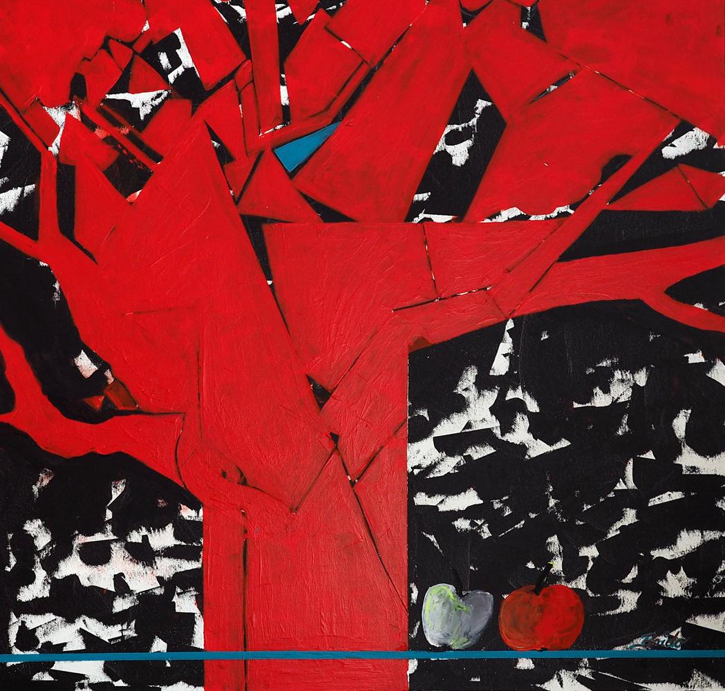 """Brigitte Dorn, """"DER APFEL FÄLLT NICHT WEIT VOM STAMM"""", reine Pigmentfarben auf Acrylbasis, 80 x 80 cm, 850 €"""