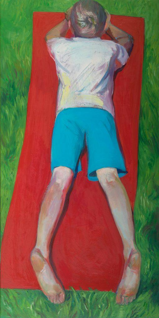 "Katya Dronova, ""Juni Rot Grün"", Öl auf Leinwand, 100 x 50 cm, 2700 €"