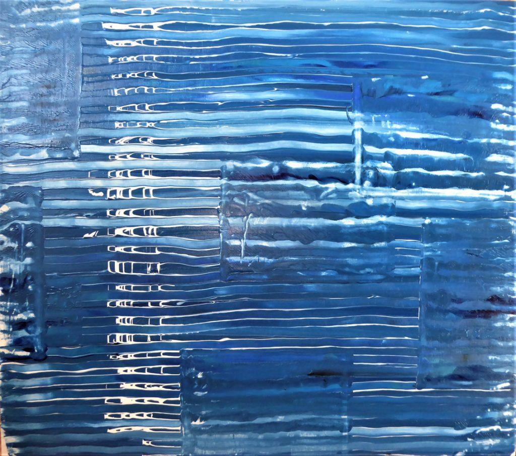 Melanie Enderlein, Variationen von Blau, Acryl auf Holz, 80 x 90 cm, 460 €