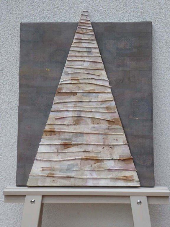 """Markus Fürst, """"WEG"""", Ästchen/Papier/Farbe, 60 x 82 x 4 cm, 1350 €"""