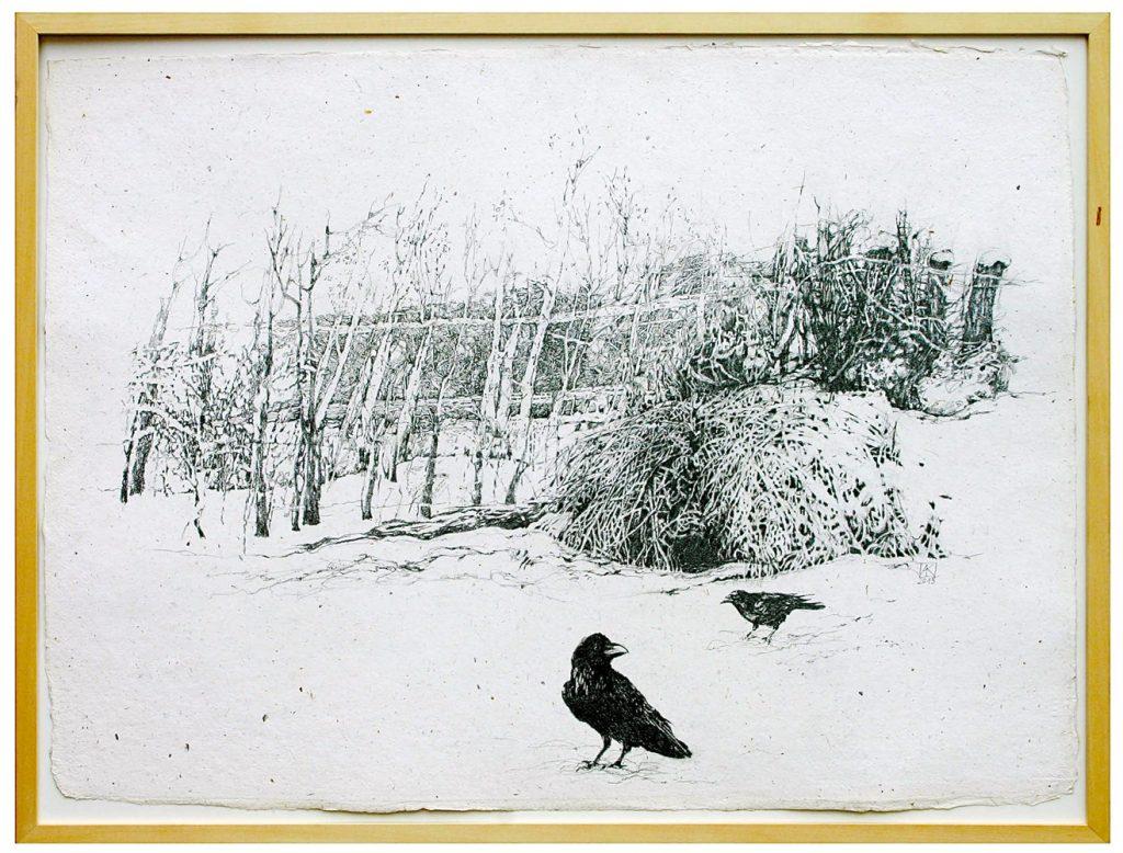 """Anita Kreck, """"Winter"""", Bleistiftzeichnung auf Bütten, 60 x 80 cm, 1000 €"""