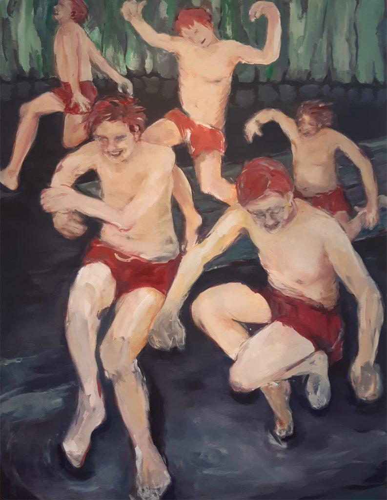 """Christa Kyrein-Fröhlich, """"Sie laufen, sie springen, sie leben"""", Acryl auf Leinwand, 165 x 140 cm, 3900 €"""