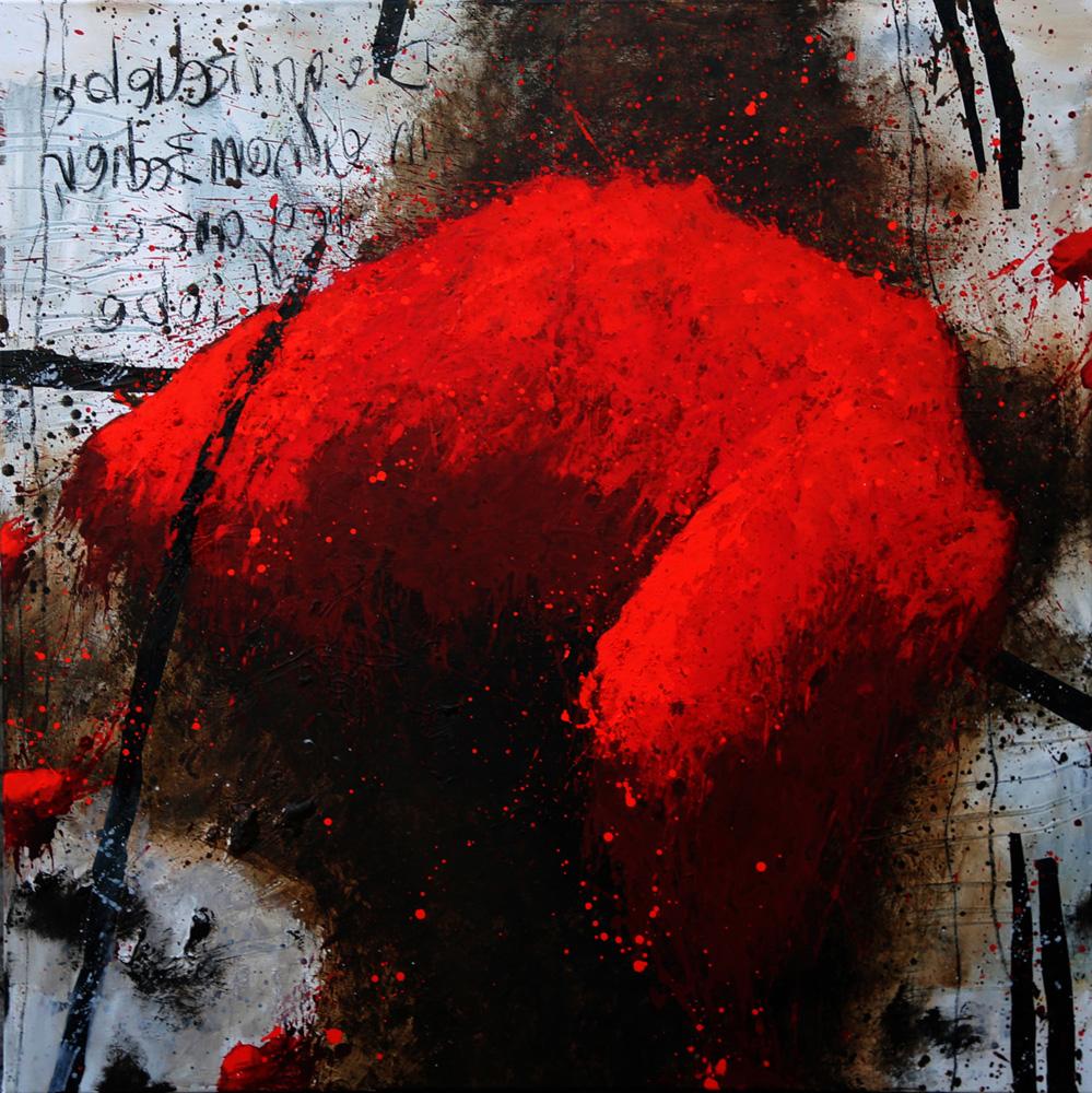 "Angela Lohr, ""Rot 3-II-19"", Acryl/Kohle/Papier, 105 x 105 cm, 2200 €"