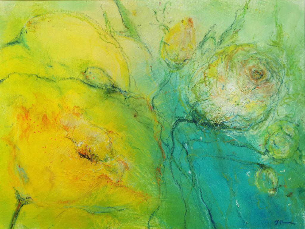 "Dagmar Reiche, ""Frühling"", Acryl und Kreide auf Malpappe, 30 x 40 cm, 320 € inkl. Rahmen"
