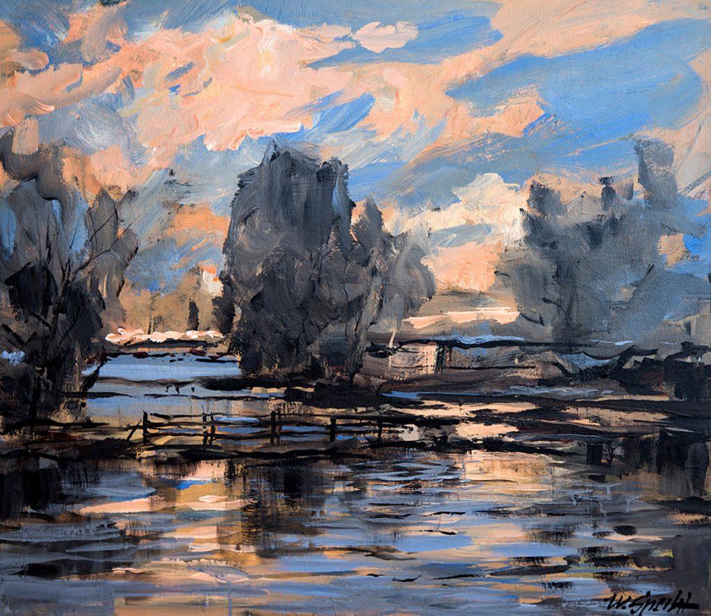 """Werner Specht, """"Abend am See"""", Acryl, 80 x 70 cm, 1800 €"""