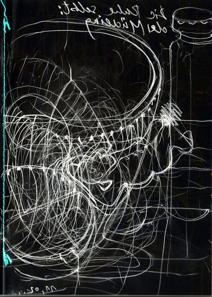 """Bernhard Jott Keller, """"Die Ruhe selbst: Der Müdling"""", Zeichnung auf Papier, 70 x 50 cm getafelt, 450 €"""